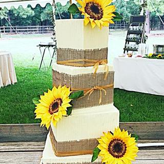 Rustic Sunflowers and burlap wedding cake