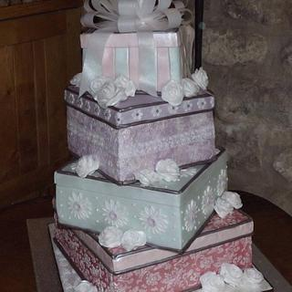 Wedding Cake - stack of presents