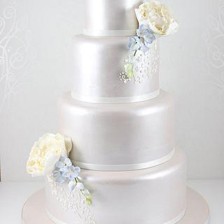 Lustred peony and freesia wedding cake - Cake by The Fairy Cakery