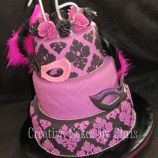 Sweet 16 Masquerade - Cake by Creative Cakes by Chris