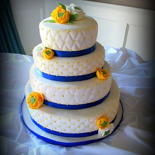 Royal blue and yellow Quilted Wedding cake