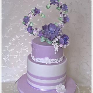 Violet flowers hearts