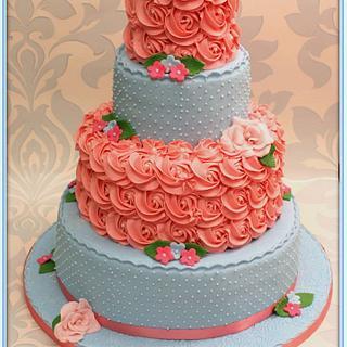 Pink & Blue Wedding Cake