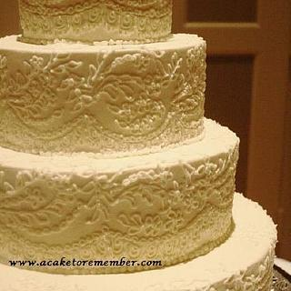Buttercream piped lace cake - Cake by Kara