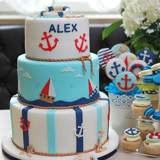 Nautical birthday cake and candy bar