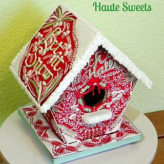 Festive Red Cookie Birdhouse - Cake by Hiromi Greer