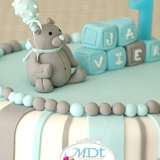 first birthday bear cake
