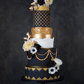Romantic Great Gatsby weddingcake