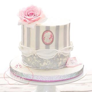 Cameo and lace birthday cake