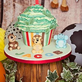 Jungle themed Giant Cupcake