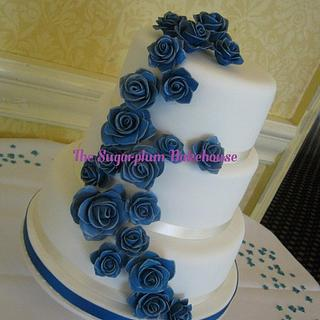 3 Tier White and Blue Wedding Cake