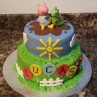 George Pig & Dinosaur Muddy Puddle Cake - Cake by Sugar Chic