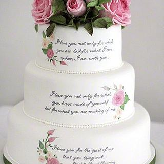 Literary themed wedding cake