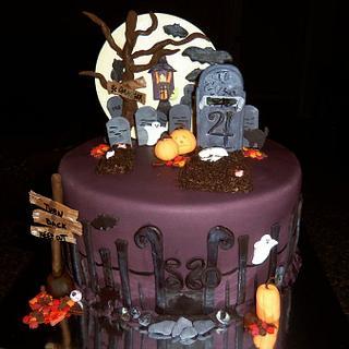 Halloween Spooky Graveyard Cake