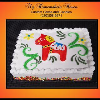 Swedish Horse Baby Shower Cake