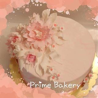 Peony flowers cake