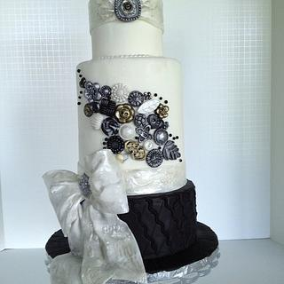 Buttons and Bows Wedding cake