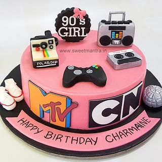 MTV 90s vintage theme customized designer birthday cake