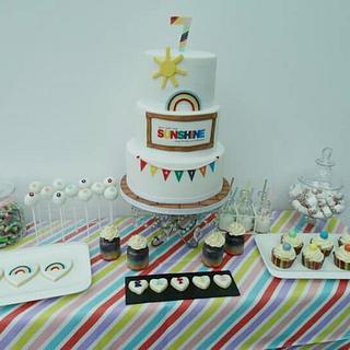 Rainbow theme dessert table