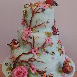 Blue Bird and Flora Cake
