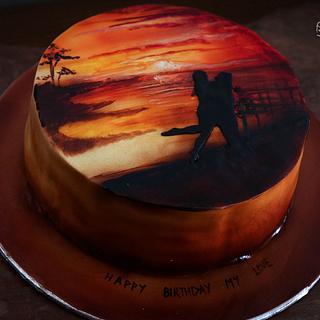 Airbrushed Landscape on cake