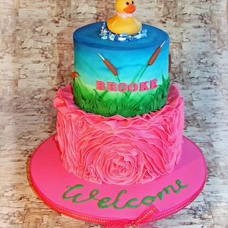Rubber ducky welcome baby cake