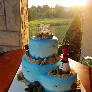 Sea coast cake
