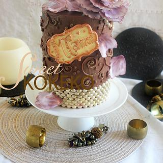 Feminine Cake with Peony and Pearls