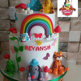 Fresh cream animal theme cake