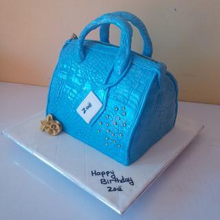 Blue handbag cake