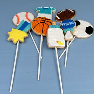 Sport Themed Baby Shower Cookie Pops