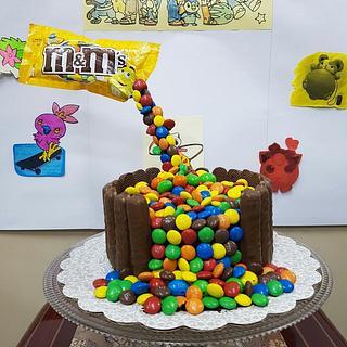 M&M's Anti-Gravity Cake