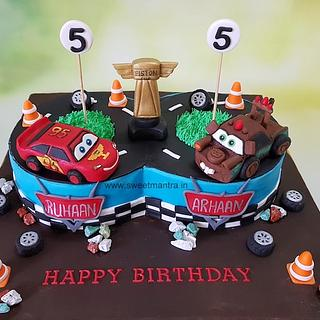 Fantastic Twin Boys Birthday Cake 6 Cakes Cakesdecor Personalised Birthday Cards Veneteletsinfo