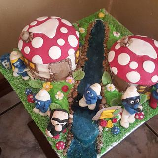 My 1st 3D Cake (The Smurfs)