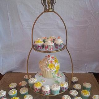 Summer and spring flower giant cupcake and cupcakes