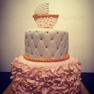 Pink and gold cake - Cake by Jertysdelight