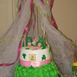 Frog Canopy baby shower cake
