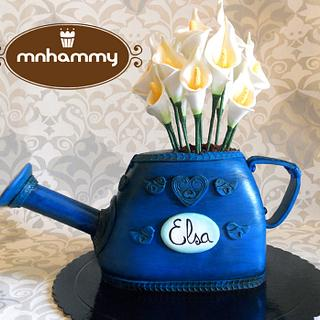 Watering can with calla lillys - Cake by Mnhammy by Sofia Salvador