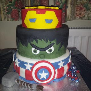 Son's 5th birthday, my 1st tiered cake