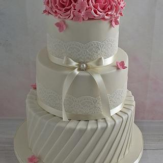 Ivory Wedding Cake with Pink Roses