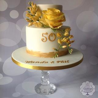 Golden Wedding - Cake by Butterfly Cakes and Bakes