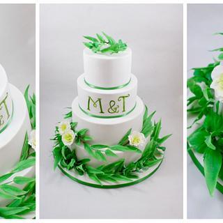 wedding cake with eucalyptus leaves