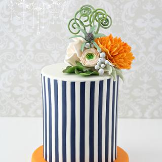 Stripes and blossoms ~ cake