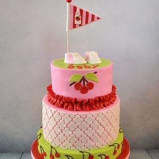 Cherries and Golf Baby Shower - Cake by Jenny Kennedy Jenny's Haute Cakes
