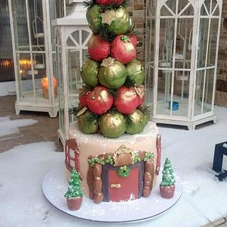 Christmas croquembouch cake