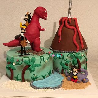 Prehistoric Minnie and friends cake!