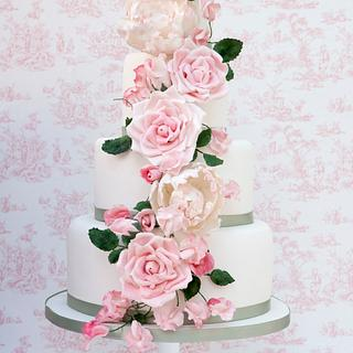 Flora - cascade of blooms - Cake by Melissa Woodland Cakes