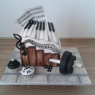 Piano and dumbbells