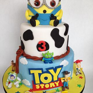 My toy story and minion cake