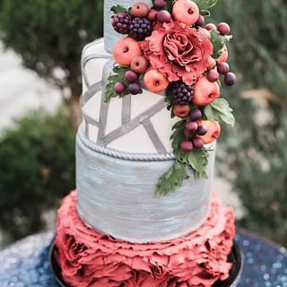 Modern Autumn Wedding Cake